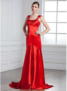 Empire Scoop Neck Watteau Train Charmeuse Evening Dress With Ruffle Beading