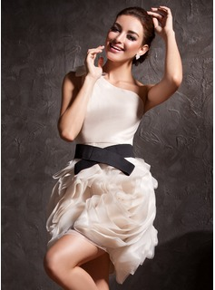Sheath One-Shoulder Short/Mini Organza Charmeuse Cocktail Dress With Ruffle Sash (016013728)
