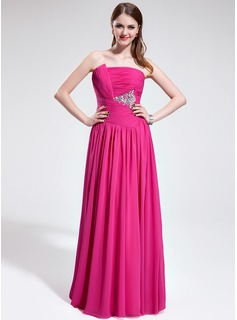 A-Line/Princess Scalloped Neck Floor-Length Chiffon Evening Dress With Ruffle Beading