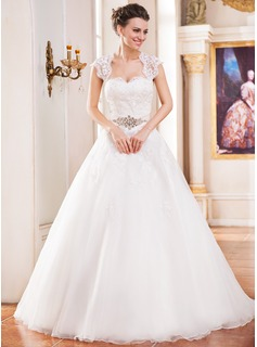 Ball-Gown Sweetheart Cathedral Train Organza Satin Wedding Dress With Lace Beading