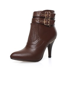 Real Leather Cone Heel Ankle Boots With Buckle shoes (088039481)