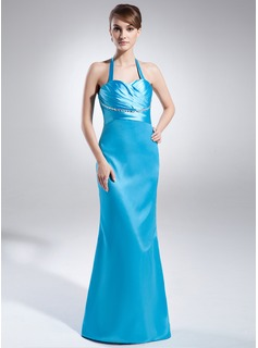 Sheath/Column Halter Sweep Train Charmeuse Evening Dress With Ruffle Beading