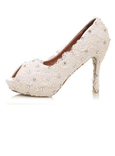 Women's Real Leather Stiletto Heel Peep Toe Platform Pumps With Rhinestone Stitching Lace