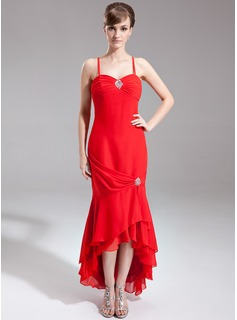 Mermaid Sweetheart Asymmetrical Chiffon Mother of the Bride Dress With Ruffle Beading