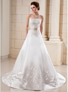 A-Line/Princess Sweetheart Cathedral Train Satin Wedding Dress With Embroidery Sash Beadwork