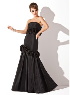 Mermaid Strapless Floor-Length Taffeta Evening Dress With Flower(s)