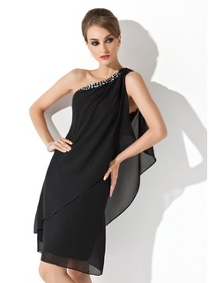 Sheath One-Shoulder Knee-Length Chiffon Cocktail Dress With Beading (016021244)