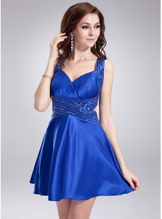 A-Line/Princess Sweetheart Short/Mini Charmeuse Homecoming Dress With Ruffle Beading Sequins