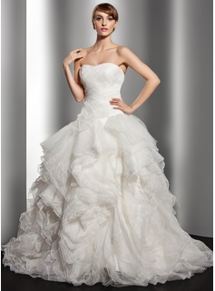 Ball-Gown Sweetheart Court Train Organza Wedding Dress With Ruffle