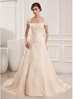 A-Line/Princess Square Neckline Court Train Chiffon Wedding Dress With Embroidery Beadwork