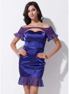Sheath/Column Off-the-Shoulder Short/Mini Satin Lace Cocktail Dress With Cascading Ruffles
