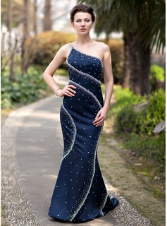 Mermaid One-Shoulder Sweep Train Charmeuse Evening Dress With Beading (017022936)