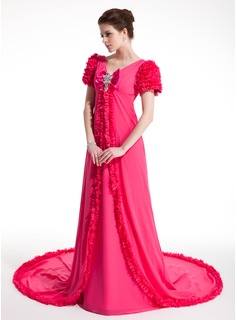 A-Line/Princess V-neck Chapel Train Chiffon Prom Dress With Ruffle Beading