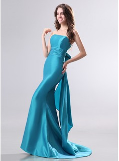 Mermaid Strapless Sweep Train Taffeta Evening Dress (017014276)