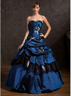 Ball-Gown Sweetheart Floor-Length Taffeta Organza Quinceanera Dress With Ruffle Lace Beading Flower(s) Sequins