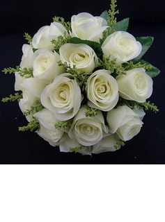 Gorgeous/White Round Satin Wedding Bouquet