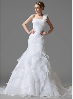 Trumpet/Mermaid One-Shoulder Chapel Train Organza Satin Wedding Dress With Ruffle Beading Flower(s)