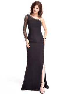 Sheath One-Shoulder Sweep Train Chiffon Tulle Evening Dress With Beading