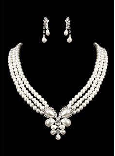 Ivory pearl two-part mini-heart ladies necklace and earrings jewelry set (38 cm) (011005550)