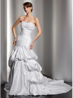Trumpet/Mermaid Sweetheart Chapel Train Satin Wedding Dress With Embroidered Ruffle Beading