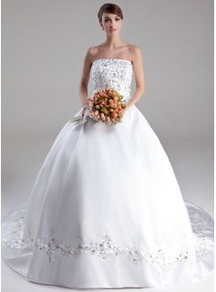 Ball-Gown Strapless Cathedral Train Satin Wedding Dress With Embroidery Beadwork Sequins