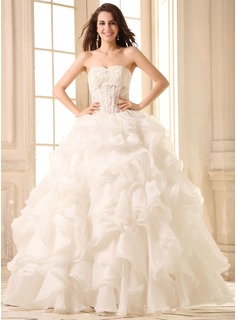 Ball-Gown Sweetheart Floor-Length Organza Wedding Dress With Lace Beadwork (002030754)