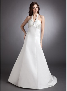 A-Line/Princess Halter Court Train Satin Wedding Dress With Ruffle Beadwork