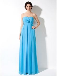 Empire Sweetheart Floor-Length Chiffon Maternity Bridesmaid Dresses With Ruffle
