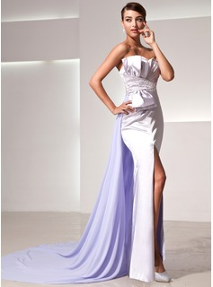 Sheath Sweetheart Watteau Train Chiffon Charmeuse Evening Dress With Ruffle Beading