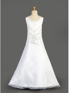 A-Line/Princess Scoop Neck Floor-Length Organza Satin Flower Girl Dress With Beading Sequins Cascading Ruffles