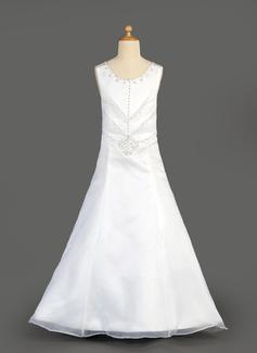 Corte A/Princesa Escote redondo Vestido Organdí Satén Vestido para niña de arras con Bordado Lentejuelas Cascada de volantes