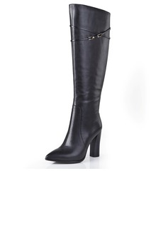 Real Leather Chunky Heel Pumps Closed Toe Knee High Boots shoes