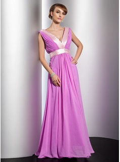 A-Line/Princess V-neck Floor-Length Chiffon Charmeuse Evening Dress With Ruffle Sash (017014783)