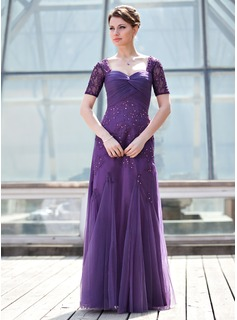 A-Line/Princess Sweetheart Floor-Length Tulle Charmeuse Lace Mother of the Bride Dress With Ruffle Beading Sequins