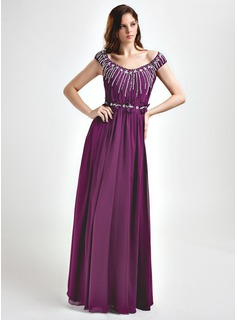 A-Line/Princess Off-the-Shoulder Floor-Length Chiffon Prom Dress With Ruffle Beading