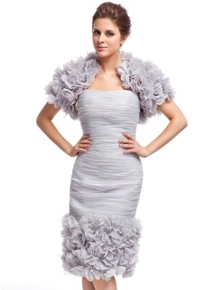 Sheath Sweetheart Knee-Length Organza Cocktail Dress With Ruffle Flower(s)