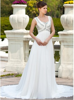 A-Line/Princess Sweetheart Chapel Train Chiffon Wedding Dress With Ruffle Beadwork