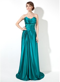 Sheath Scalloped Neck Sweep Train Charmeuse Prom Dress With Ruffle Beading