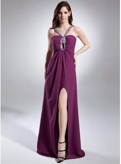 Sheath Sweetheart Floor-Length Chiffon Prom Dress With Ruffle Beading