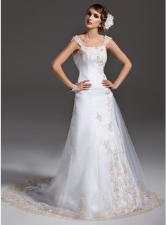 A-Line/Princess Off-the-Shoulder Court Train Satin Tulle Wedding Dress With Ruffle Lace Beadwork
