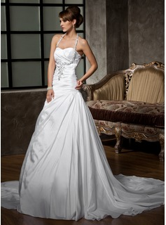 A-Line/Princess Halter Court Train Taffeta Wedding Dress With Ruffle Beadwork Sequins