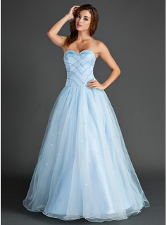 A-Line/Princess Sweetheart Floor-Length Organza Satin Prom Dress With Beading