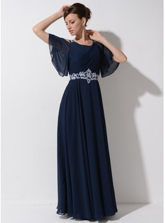 A-Line/Princess Scoop Neck Floor-Length Chiffon Mother of the Bride Dress With Lace Beading Sequins Cascading Ruffles