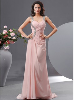 Sheath Sweetheart Sweep Train Chiffon Evening Dress With Ruffle Beading