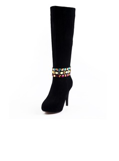 Suede Stiletto Heel Platform Knee High Boots With Rhinestone shoes (088039594)