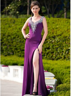 Sheath Sweetheart Court Train Charmeuse Evening Dress With Beading (017024576)