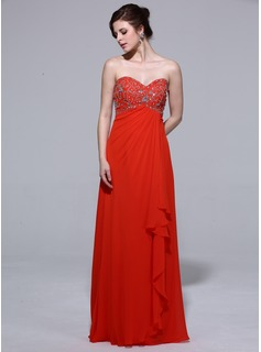 Empire Sweetheart Floor-Length Chiffon Evening Dress With Beading