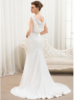 Trumpet/Mermaid V-neck Court Train Chiffon Tulle Wedding Dress With Ruffle Lace Beading Sequins