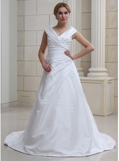 A-Line/Princess Off-the-Shoulder Chapel Train Taffeta Wedding Dress With Ruffle