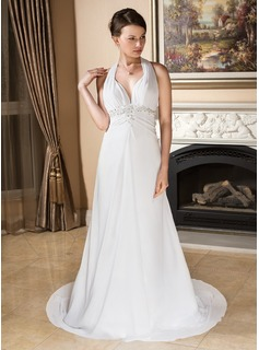 A-Line/Princess Halter Court Train Chiffon Wedding Dress With Ruffle Lace Beading Bow(s)